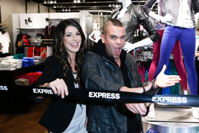 Glee's Mark Salling and 90210's Shenae Grimes celebrate the grand opening of the EXPRESS store at Pacific Centre in Vancouver, BC on July 12, 2012 (CNW Group/Express, Inc.)
