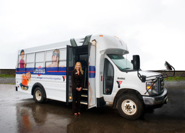 Featured in the photo is the new Saint John YMCA-YWCA bus donated by Irving Oil, with Shilo Boucher, Acting CEO of the Saint John Y. (CNW Group/Irving Oil Limited)