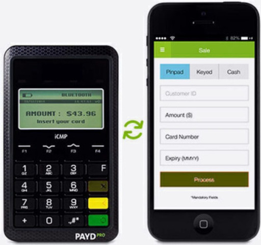 Bluetooth-enabled PIN PAD and PAYD mobile application running on an iOS®-operated smartphone. (CNW Group/Moneris Solutions Corporation) (CNW Group/Moneris Solutions Corporation)