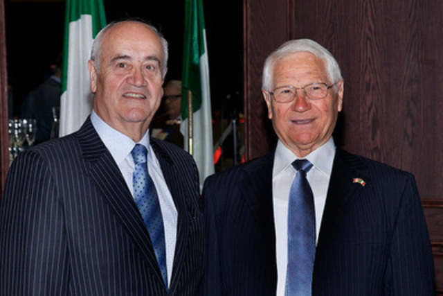 "The Honourable Julian Fantino, Minister of Veterans Affairs, honoured the courageous efforts made by four Canadian soldiers during the Second World War in saving the life of young Gino Farnetti-Bragaglia. The role that Canadian soldiers Lloyd ""Red"" Oliver, Paul Hagen, Mert Massey, and Doug Walker played in Gino's incredible story of survival is truly commendable. (CNW Group/Veterans Affairs Canada)"