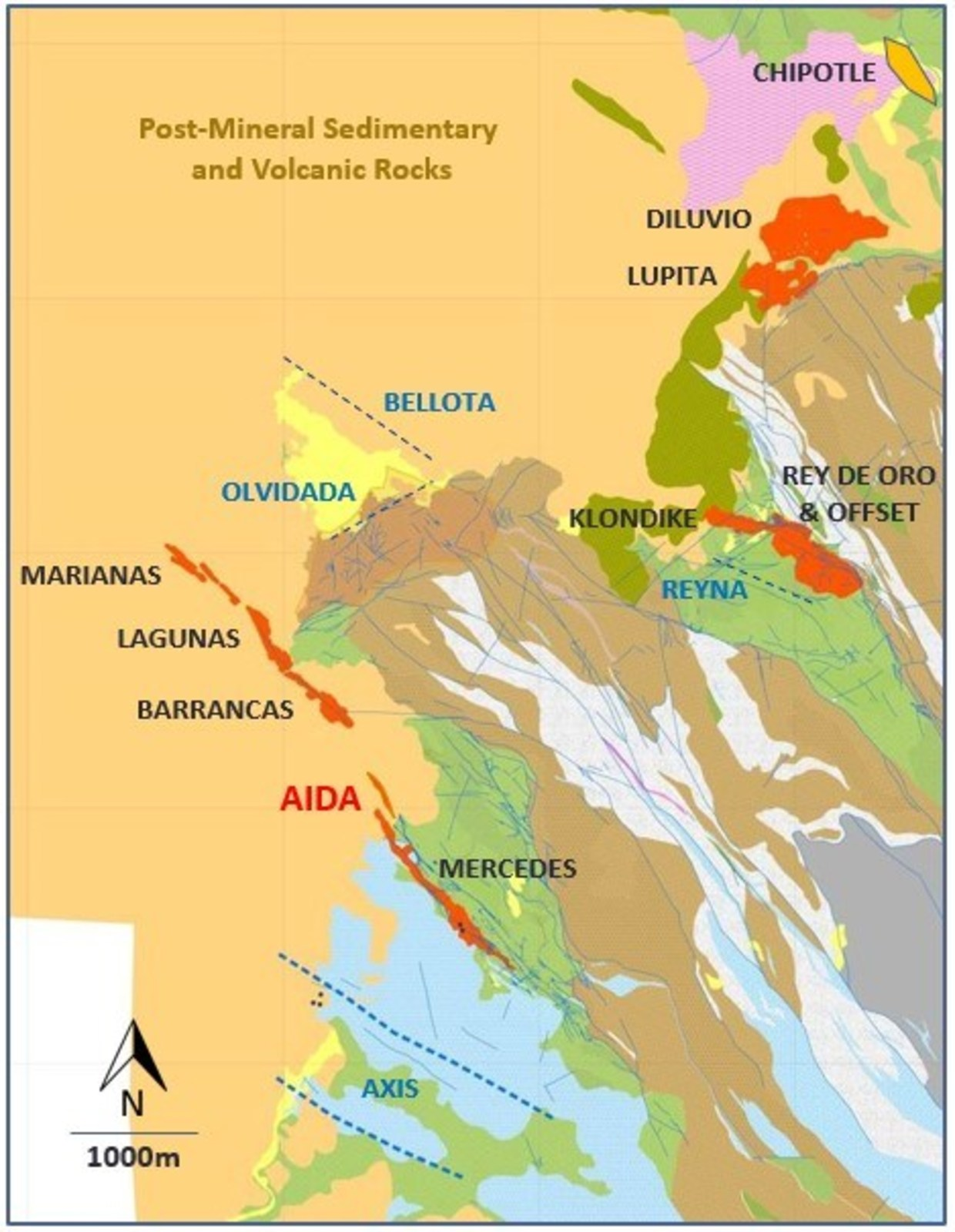 Figure 2 - Mercedes Regional Geology and target areas