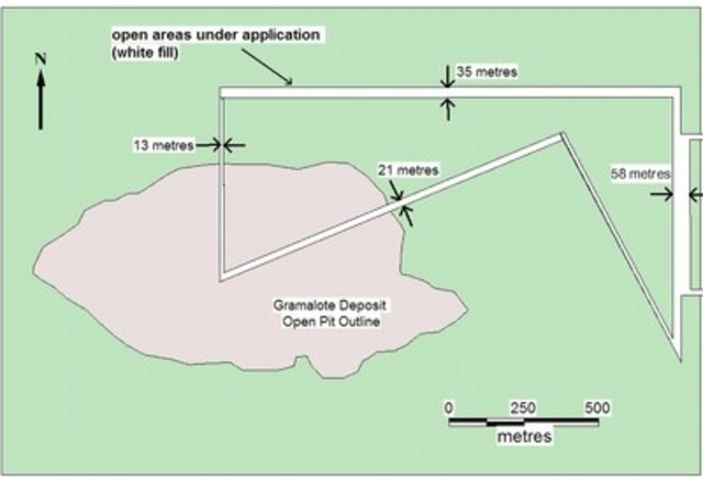 Map illustrating the area under application (in white) within the Gramalote Deposit. (CNW Group/Zonte Metals Inc.)