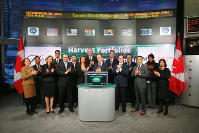 Michael Kovacs, President & CEO, Harvest Portfolios Group joined Amelia Nedovich, Head, Business Development, Exchange Traded Funds and Structured Products, TMX Group to open the market to launch three new funds; Brand Leaders Plus Income Fund (HBF.UN); Energy Leaders Plus Income Fund (HPF.UN); Healthcare Leaders Income Fund (HHL.UN) which commenced trading on Toronto Stock Exchange in 2014. Harvest Portfolios is a Canadian Investment Management company focused on long-term income generating investment products. Harvest Portfolios Group currently has seven products listing on Toronto Stock Exchange with a combined market capitalization of $277 million. (CNW Group/TMX Group Inc.)