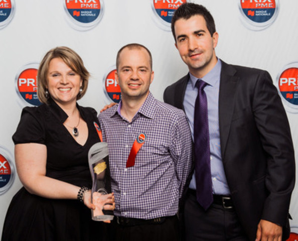 Provincial winner - SME with $5-10 million in sales. From left to right: from YourBarFactory, Émilie Gras, Human Resources Manager and shareholder, and Martin Joyal, President, along with Jean-Pascal Cadrin, Manager Financial Solutions, National Bank. (CNW Group/National Bank of Canada)