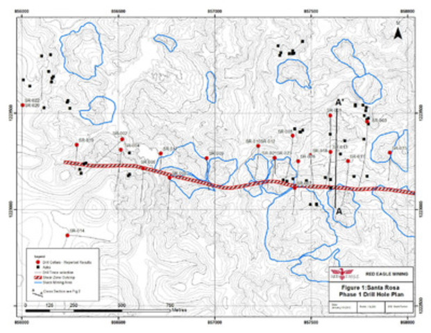 Figure 1: Santa Rosa Phase 1 Drill Hole Plan (CNW Group/Red Eagle Mining Corporation)