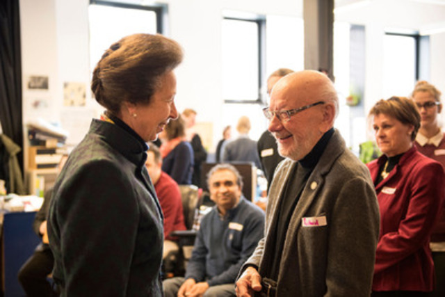 HRH The Princess Royal, Princess Anne chats with a beneficiary of Santropol Roulant, a food agency supported by Centraide of Greater Montreal. She is visiting Montreal in her capacity as president of Emerging Leaders' Dialogues (ELD) Canada, a charity strengthening global ties and networks through leadership. [photo credit] Anick Valiquette (CNW Group/ELD Canada)