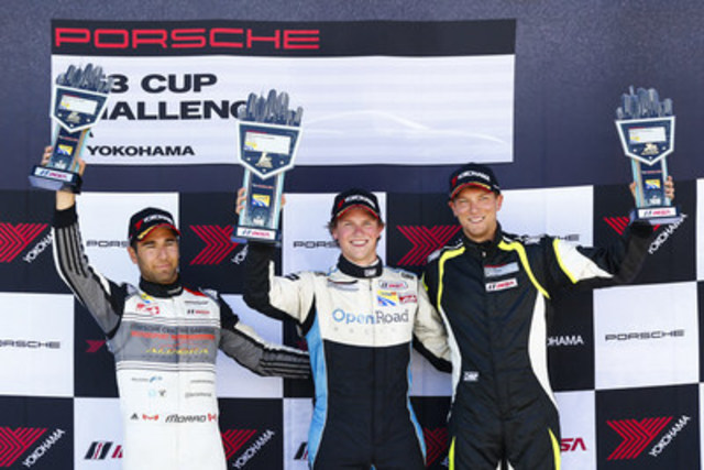 On July 2, Scott Hargrove (centre) won the sixth race of the Ultra 94 Porsche GT3 Cup Challenge Canada by Yokohama series at Watkins Glen International. Daniel Morad (left) crossed the checkered flag second in the No. 17 Porsche Centre Oakville/Alegra Motorsports Porsche, while Zach Robichon (right) followed him to a third place finish in the No. 78 Mark Motors Racing Porsche. (CNW Group/Porsche Cars Canada)