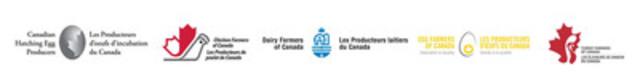 Les Producteurs d'œufs d'incubation du Canada, Les Producteurs de poulet du Canada, Les Producteurs laitiers du Canada, Les Producteurs d'œufs du Canada et Les Éleveurs de dindon du Canada (Groupe CNW/Les Producteurs de poulet du Canada)