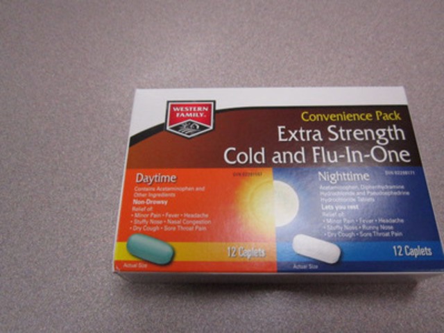 Western Family Cold & Flu-In-One - kit with 12 daytime caplets and 12 nighttime caplets (CNW Group/Vita ...