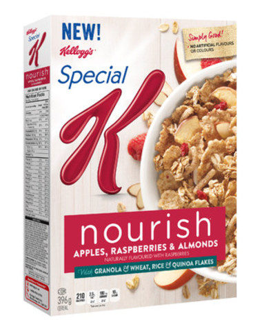 Special K Nourish Apple Raspberry & Almond cereal: A source of 10 essential nutrients with 220 calories or less per serving. (CNW Group/Kellogg Canada Inc.)