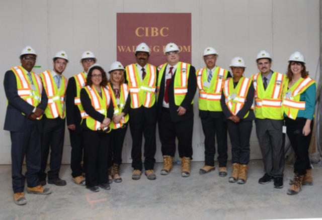 Mr. Larry Tomei, Senior Vice President, Retail and Business Banking for CIBC (5th from right) and members of the CIBC team pose for a photo in what will be the NEW Humber River Hospital's Cancer Care Centre's waiting room. (CNW Group/Humber River Regional Hospital)