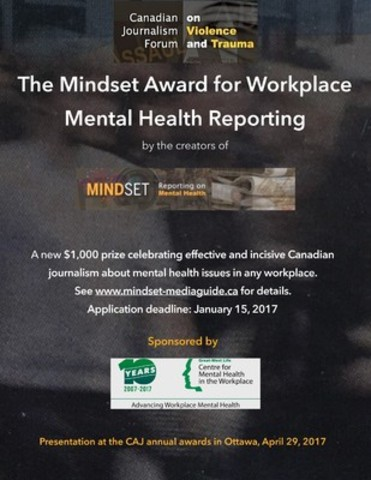 Poster: Mindset Award for Workplace Mental Health Reporting (CNW Group/Canadian Journalism Forum on Violence ...