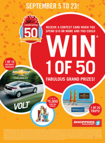As part of Shoppers Drug Mart's 50th anniversary celebration, the retailer has launched a nation-wide contest with more than $500,000 in prizes, including cars, trips and shopping sprees - the largest ever prize pool in the Company's history. (CNW Group/Shoppers Drug Mart Corporation)