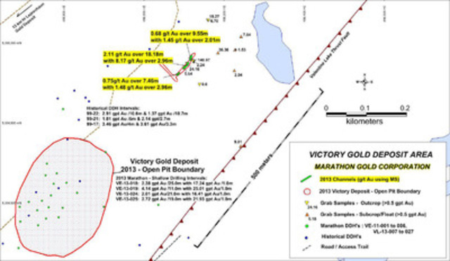 Figure 1: Location map of new channel intervals (using metallic sieve assay results), 300 meters NE along strike from the Victory Gold Deposit, Valentine Lake Property, Newfoundland. (CNW Group/Marathon Gold Corporation)