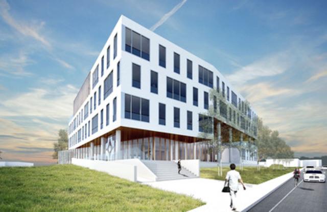 Image de synthèse du nouveau siège social de l'Ordre des infirmières et infirmiers du Québec situé au Technopôle Angus. (Groupe CNW/SOCIETE DE DEVELOPPEMENT ANGUS)