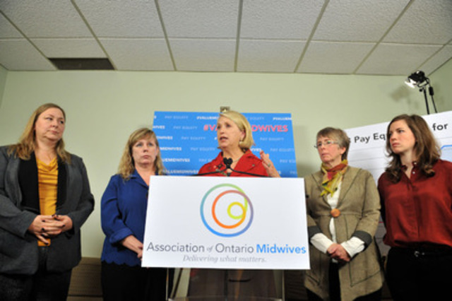 Lawyer and pay equity expert Mary Cornish speaks at a press conference to announce that Ontario midwives have filed an application with the Human Rights Tribunal over government's refusal to comply with pay equity for midwives. An independent pay equity expert has found that midwives are paid only 52 percent of what their work is worth. L to R: Midwives Claudette Leduc and Association of Ontario Midwives President Lisa Weston, legal counsel Mary Cornish, Midwives Mary Ann Leslie and Sarah Leslie (Photo Credit: Shan Qiao) (CNW Group/Association of Ontario Midwives)