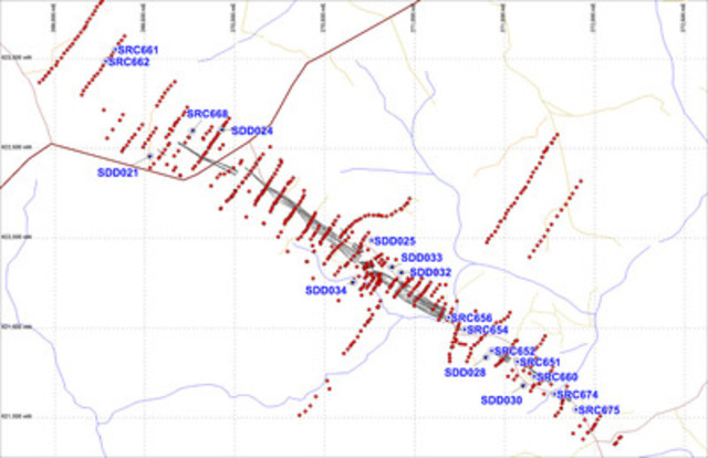 Figure 1: Locations of recent drill holes at the Smarts deposit. (CNW Group/Azimuth Resources)
