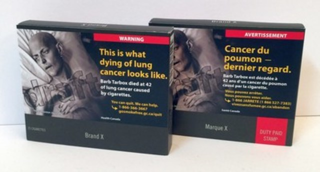 Mock-up of plain and standardized cigarette packages for Canada (CNW Group/Canadian Coalition for Action on ...