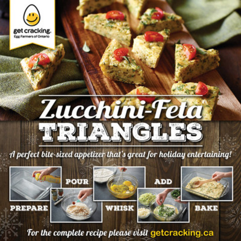 Zucchini-Feta Triangles – Delicious bite-sized appetizers that are great for holiday entertaining. (CNW Group/Egg Farmers of Ontario)