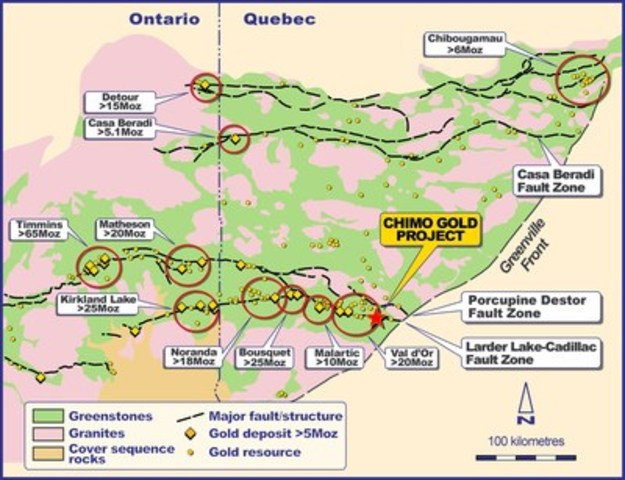 Figure 1 - Location map of Chimo Gold Project in Abitibi sub-province of Canada (CNW Group/Chalice Gold Mines ...