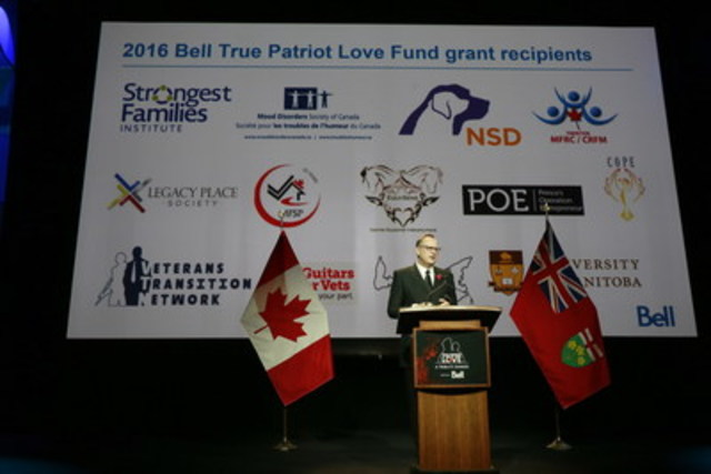 George Cope, President and CEO of Bell and BCE announcing the 4-year renewal of the $1 million Bell True Patriot Love Fund at the annual True Patriot Love Tribute Dinner. (CNW Group/Bell Canada)
