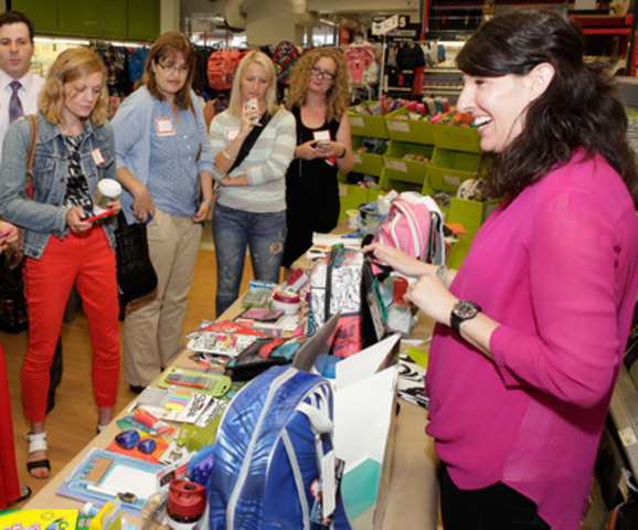Elena Delli Pizzi, category manager at Staples Canada, meets with leading bloggers at a Toronto Staples location, July 28, to showcase some of this year?s trends and how Staples is getting ready for the back-to-school season. #goingback (CNW Group/Staples Canada Inc.)