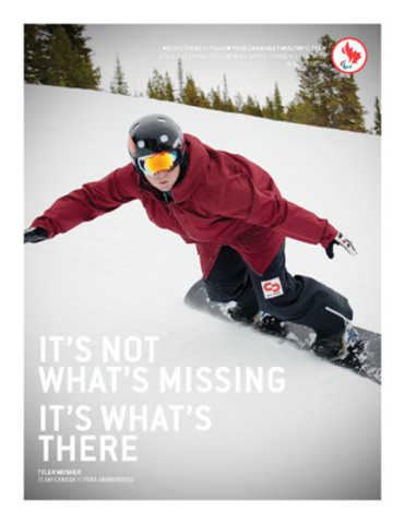 Para-snowboarder Tyler Mosher (Whistler, B.C.) is featured in the Canadian Paralympic Committee's new Sochi 2014 campaign to build hype around the Games. (CNW Group/Canadian Paralympic Committee (CPC))