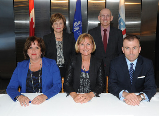 1st  row (from left to right): Sylvie Vachon, President and CEO, MPA; Madeleine Paquin, President of the Board, Terminal Termont Inc., President of Termont Montréal Inc., and President and CEO, Logistec Corporation; Patrick Burgoyne, President and CEO, Ceres Terminals Inc. - 2nd row (from letf to right): Marie-Claude Leroux, VP, Corporate Affairs and Secretary, MPA; Mario Blanchet, Executive VP, Operations, Logistec Corporation. (CNW Group/Montreal Port Authority)
