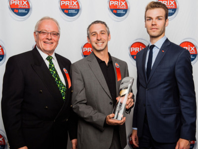 Provincial winner - SME with less than $5 million in sales. From left to right: from ElCargo Fabrication Inc, Réal Royer, President, and Jonathan Joyal, Director of operations, along with David Pion, Development SME Manager at National Bank's branch in Saint-Hyacinthe. (CNW Group/National Bank of Canada)