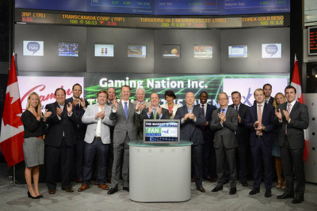 Scott Secord, CEO, Gaming Nation Inc.(FAN) joined Priya Patil, Head, Global Diversified Industries, TMX Group to open the market. Gaming Nation Inc. provides sports entertainment through games of skill. The Company's platforms include 5050 Central Ltd.'s electronic raffle system, Fantasy Feud, Fantasy Guru and PickNation. Gaming Nation's Fantasy Feud is a daily fantasy sports portal that provides five daily fantasy games across eight sports. Fantasy Guru and PickNation are sports information sites designed for the fantasy sports players. The Company offers its platforms to sports fans and daily fantasy participants. Gaming Nation Inc. commenced trading on TSX Venture Exchange on June 15, 2015. (CNW Group/TMX Group Limited)
