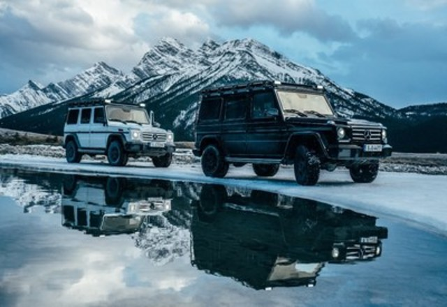 "Extreme athlete and adventurer Mike Horn traveled from Calgary to Jasper (Alberta, Canada) and back to test the two G-Class SUVs he will be using during the ""Pole2Pole"" expedition, during which he will circumnavigate the globe via the two poles. (CNW Group/Mercedes-Benz Canada Inc.)"