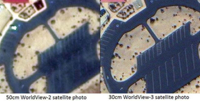 50cm resolution WorldView-2 satellite photo vs the new 30cm WorldView-3 satellite (CNW Group/PhotoSat Information Ltd)