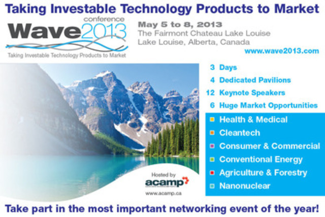 5 Months until Wave 2013 in Lake Louise! Early bird special ends Jan 18th, 2013! Don't miss this opportunity! (CNW Group/Alberta Centre for Advanced MNT Products (ACAMP))