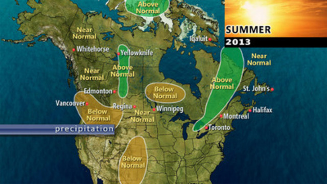 The Weather Network expects near normal to above normal precipitation across much of Canada this summer (CNW Group/The Weather Network)