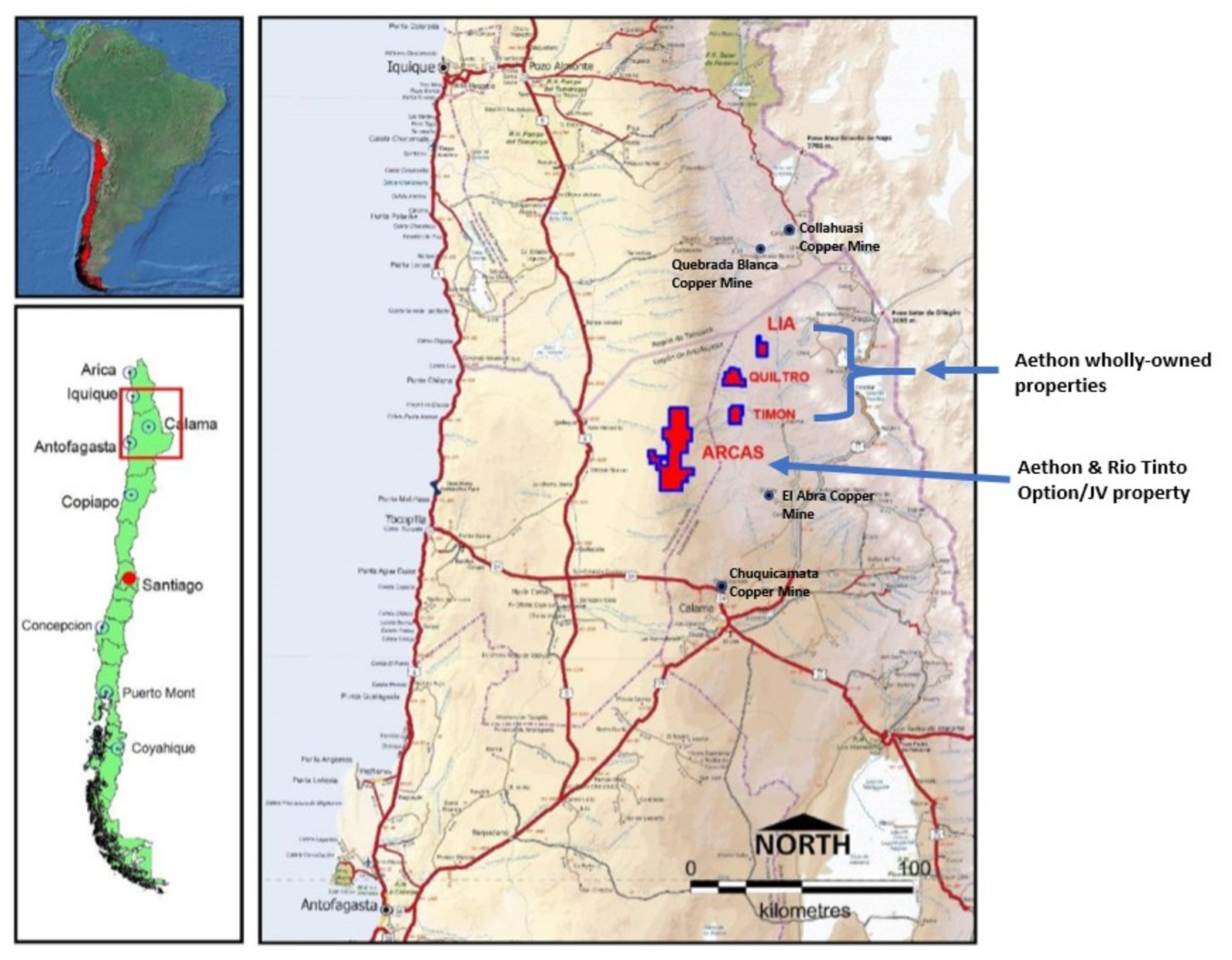 Figure 1:  Location of the Arcas Project & Aethon's Nearby Wholly-Owned Properties