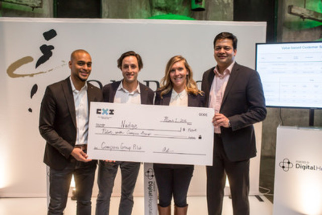 Nudge Rewards wins Compass Group Canada pilot during the Retail Experience Innovation Competition (CXI) in Toronto. From left to right: Humza Teherany, Chief Innovation Officer of Compass Group Canada, Jordan Ekers, Vice President, Business Development of Nudge Rewards, Lindsey Goodchild, CEO of Nudge Rewards, Saajid Khan, CEO of Compass Group Canada and ESS North America. (CNW Group/Mercedes-Benz Canada Inc.)
