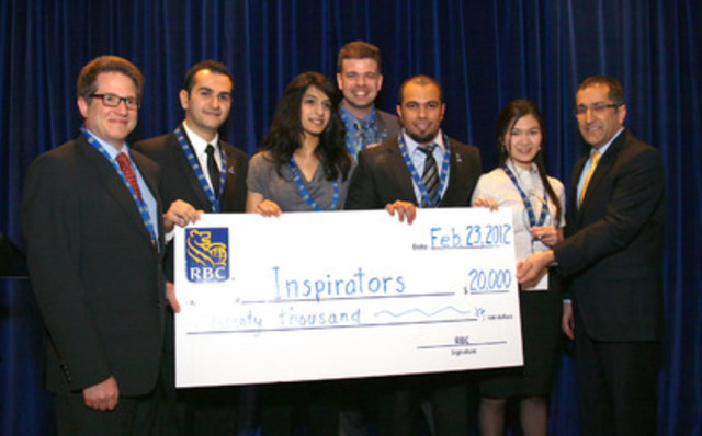 The winners of the 2012 RBC Next Great Innovator Challenge, the Inspirators, accept their $20,000 prize. (CNW Group/RBC)