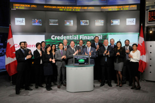 Russ Fast, Chair, Board of Directors, Credential Financial Inc., (088) joined Kevin Sampson, Vice President, Business Development & Strategy, Equities Trading, Toronto Stock Exchange to open the market. Credential Financial is a wealth management firm in the Canadian financial services industry. Credential and its member companies (Credential Asset Management, Credential Securities, Credential Direct, and Credential Insurance Services) provide MFDA and IIROC dealer services, online brokerage, and insurance solutions to credit unions and independent financial institutions. Credential Securities Inc. is a Participating Organization of Toronto Stock Exchange, Member of the TSX Venture Exchange, TMX Select Subscriber and Alpha Member. (CNW Group/TMX Group Limited)