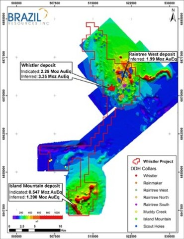 Figure 1: Whistler Project showing location of Whistler, Raintree West and Island Mountain deposits. (CNW Group/Brazil Resources Inc.)