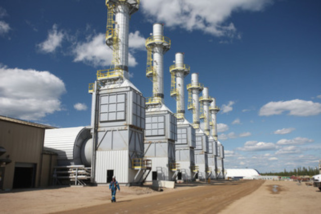 Steam gens at Cenovus's northern Alberta oil sands operations (CNW Group/Cenovus Energy Inc.)