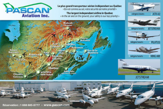 Map of destinations offered by Pascan Aviation - www.pascan.com (CNW Group/Pascan Aviation inc.)