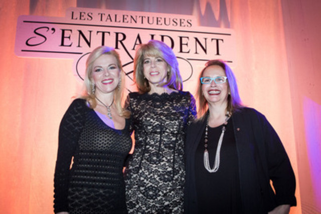 "From left to right: Ms. Isabelle Maréchal, journalist, radio and television host; Ms. Dana Ades-Landy, Area Vice-President, Québec and Eastern Ontario, Commercial Banking at Scotia Bank, as well as Chairperson of the AQWF; Ms. Sylvie Paquette, ""Inspiration - Andrée Corriveau"" Award winner (Award given by the AQWF's Board of Directors). Senior Vice-President and General Manager, Property and Casualty Insurance, Desjardins Group, President and COO of Desjardins General Insurance (CNW Group/Association des femmes en finance du Québec (AFFQ))"