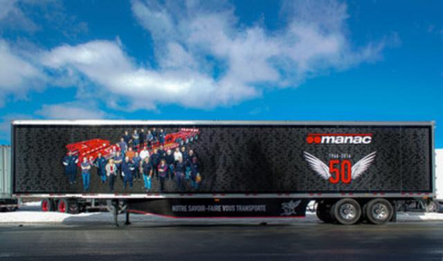Ce concept visuel rend hommage à nos gens.  En effet, les noms de tous les employés de Manac apparaissent sur ce fourgon lettré aux couleurs du 50e anniversaire (Groupe CNW/Manac Inc.)