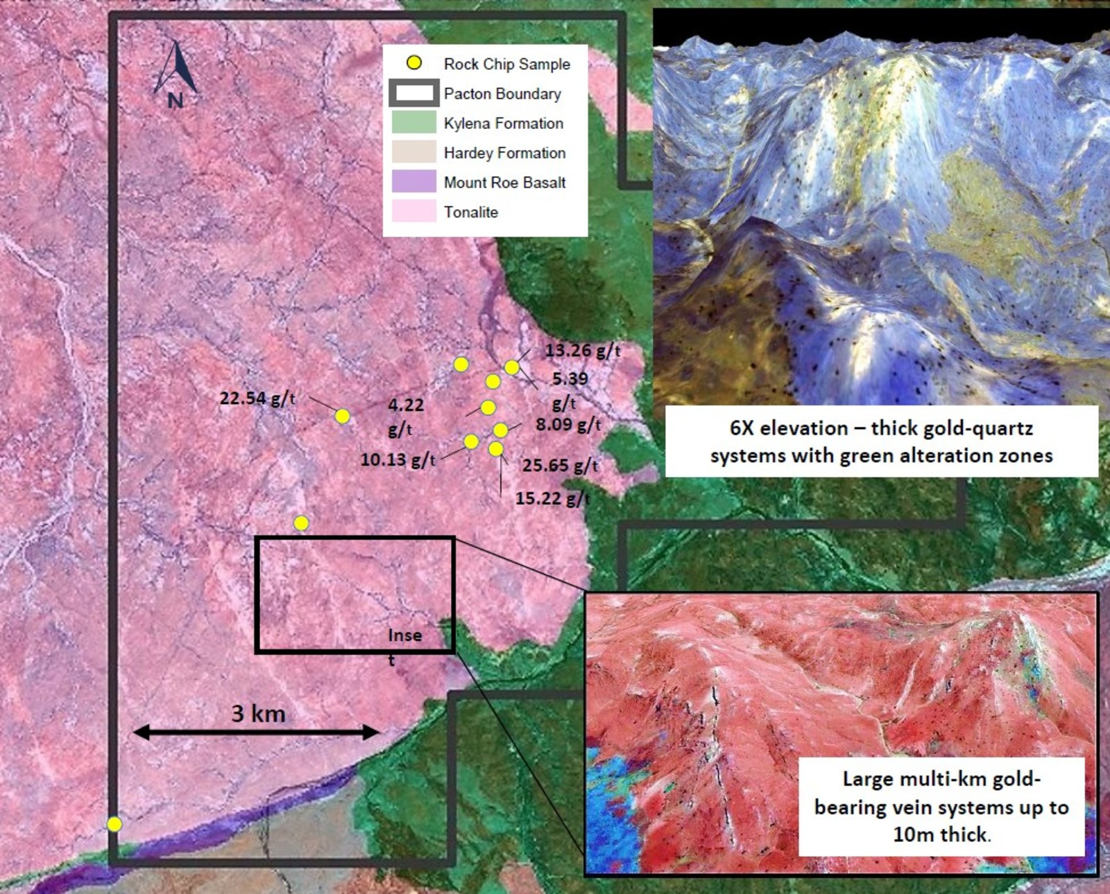Figure 2. Fortescue Group Kylena and Mount Roe formations overlap the older Archean pink tonalite pluton. The tonalite is intruded by a massive system of gold-bearing quartz veins. The 3D insets show the influence of the resistant quartz veins in controlling the topography. The entire pluton contains obvious, greenish alteration zones that suggest less resistant quartz stockworks.