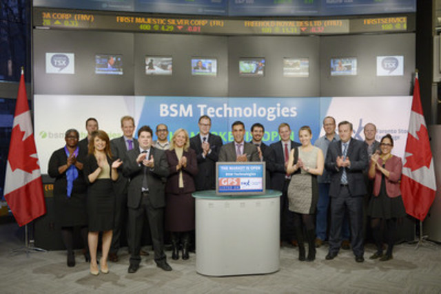 Aly Rahemtulla, CEO, BSM Technologies Inc (GPS), joined Robert Peterman, Director, Global Business Development, Toronto Stock Exchange & TSX Venture Exchange to open the market. BSM Technologies Inc., through its subsidiaries, BSM Wireless Inc., Webtech Wireless Inc., JMM Global and Lat‐Lon, L.L.C., is a global commercial fleet telematics provider for automatic vehicle location solutions. BSM provides solutions for commercial and government units who operate diverse assets and large fleets that utilize its integrated fleet tracking, fleet maintenance, and intelligent business engine which provides real time, web‐based tracking of mobile and fixed assets. BSM Wireless Inc. graduated from TSX Venture Exchange and commenced trading on Toronto Stock Exchange on October 6, 2015. For more information please visit http://www.bsmwireless.com/ (CNW Group/TMX Group Limited)