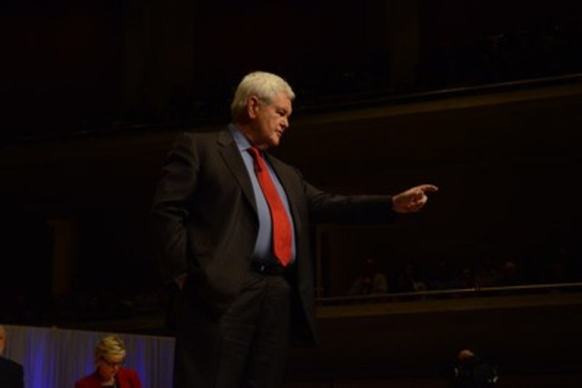 "Newt Gingrich & Laura Ingraham ""Trump"" Robert Reich & Jennifer Granholm at a no-holds-barred public debate on the US election (CNW Group/Munk Debates)"