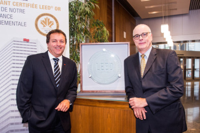National Bank's head office has received the LEED EB Gold Certification in Canada.  Pictured (left to right): Mr. Ghislain Parent, Chief Financial Officer and Executive Vice-President - Finance and Treasury at National Bank; Mr. Robert Ladouceur, Executive Director of the CaGBC, Quebec Chapter. (CNW Group/National Bank of Canada)