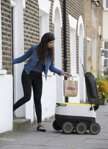 JUST EAT, the world's leading digital marketplace for take-out food delivery, prepares to launch a groundbreaking test of Starship Technologies (established by Skype co-founders) self-driving delivery robots on the streets of London, UK. The robots, unlocked using a secure code, will deliver food to consumers within a short radius of their point of origin. Globally, Starship Technologies robots – introduced late last year, have already driven close to 5,000 miles and met over 400,000 people without a single accident, using cameras, sensors and other technology to navigate their way through urban streets. Dinner delivered to your doorstep Jetsons-style may become a reality for Canadians in the not so distant future! (CNW Group/Just Eat Canada)