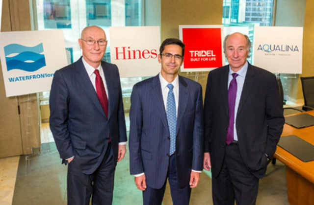 From left to Right: John Campbell (President and CEO, Waterfront Toronto), Avi Tesciuba (Vice President, Hines), Leo DelZotto (President, Tridel) (CNW Group/Tridel)