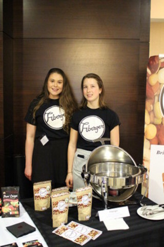 Caileigh Smith and Evelyn Helps of the University of Guelph developed the winning product for the 2016 Mission:ImPULSEible competition with Fiberger, a high fibre meat extender made from red lentils, green peas and chickpeas. (CNW Group/Pulse Canada)
